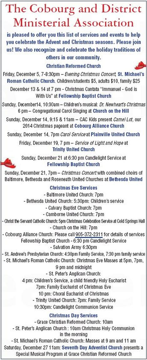 Cobourg Christmas Services 2014