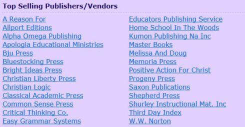 homeschool vendors