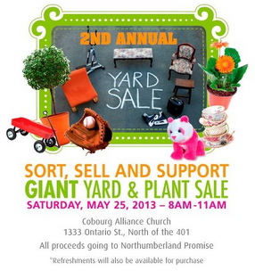 Yard Sale May 25 Cobourg Alliance